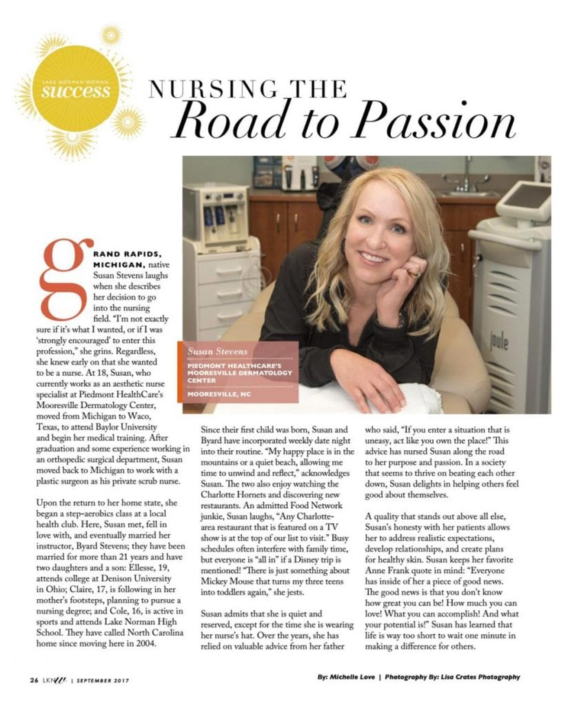 Susan Stevens, RN, Featured in Lake Norman Woman Magazine